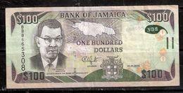 030901 JAMAICAN $100 NOTE 1-1-2014 -- USED - Jamaica