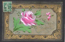 CPA FANTAISIE CELLULOID CELLULOIDE - DORURE - OR - Art Déco - Art Nouveau - Peinte à La Main - Jolie Fleur Rose -#521 - Fantaisies