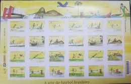 L) 2014 BRAZIL, THE ART OF BRAZILIAN FOOTBALL, WORD CUP,  SPORT, NATURE, BEACH, BIRD, FULL COLORS, BLOCK OF 24 STAMPS - Brazil