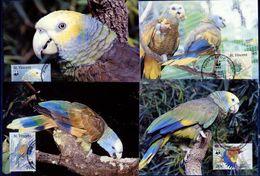 St.Vincent, Parrots, WWF, 1989, 4  Maximum Cards - Maximumkaarten