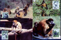 Honduras, 1990, Monkeys, WWF, 4 Maximum Cards - Maximumkaarten