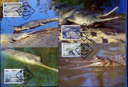 Bangladesh, Crocodiles, WWF, 1990 4 Maximum Cards - Maximumkaarten