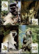 St. Kitts, 1986, Monkeys, WWF, 4 Maximum Cards - Maximumkaarten