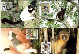 Malagasy, WWF,  Monkies 1988, 4 Maximum Cards - Maximumkaarten