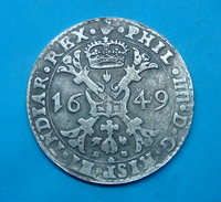 SPANISH NETHERLANDS BRABANT PATAGON 1649 SILVER,  46 Mm.STRANGE MINTING, WAS PART OF JEWELLRY, CLEANED. - Spanische Niederlande