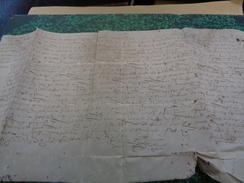 Veuve ACHART Acquéreuse De Charonet & Autres Terre De La Petonnerie Près PRAILLES. Parchemin :49 X 25 Cm.1592 - Documents Historiques