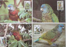 St.Lucia, Birds, WWF, 1987, 4 Maximum Cards - Maximumkaarten