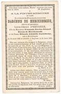 HERFELINGEN  - IZEGEM - Doodsprentje Van Euphrasie BARONNE De HERCKENRODE  ,  Overleden + 1895 - Devotion Images