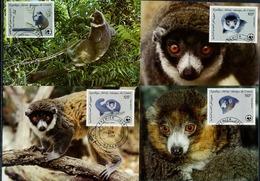 Comores, Comoros  WWF, Lemurs, 1987, 4 Maximum Cards - Maximumkaarten