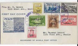 PHILIPPINES - 1945 - ENVELOPPE FDC De MANILA Avec SERIE VICTORY - Philippines