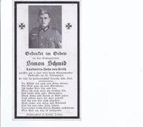 Sterbebild - Simon Schmid , Stabsgefreiter  Gef.  6.7.1943  **19872** - Army & War