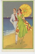FEMMES - FRAU - LADY - Jolie Carte Fantaisie Couple Amoureux Avec Ombrelle Signée CORBELLA - Corbella, T.
