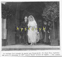 Ponts De Cé Mariage D'un  Aveugle De Guerre 11x11cm   1921 ( Bien Lire La Description) Achat Immédiat - Vieux Papiers