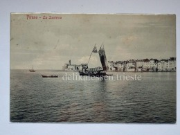 PIRANO ISTRIA Barche Vela Pesca Slovenia Slovenija AK Vecchia Cartolina  Lanterna BN - Slovenia