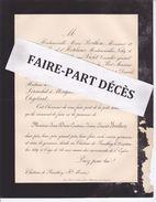 Faire-part Décès M. Jean Denis Constant James Edmond BORTHON, Château De Prauthoy, 1889 - Esquela