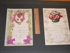 2 Lettres Manuscrites -  Découpis- Ornements Fleurs Et Vegetaux 1939 - Découpis