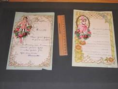 2 Lettres Manuscrites -  Découpis- Ornement Fillettes Et Fleurs 1929 Et 1931 - Découpis