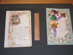 2 Lettres Manuscrites -  Découpis- Ornement Fillettes Et Fleurs 1933 Et 1935 - Découpis