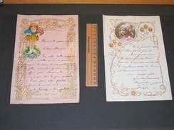 2 Lettres Manuscrites -  Découpis- Ornement Fillettes (1 Photo)  Et Fleurs 1930 Et 1938 - Découpis