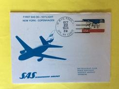 USA First Sas DC -10 Fligth New York / Copenhagen SAS Scandinavian Airlines 22/10/1974 - Poste Aérienne
