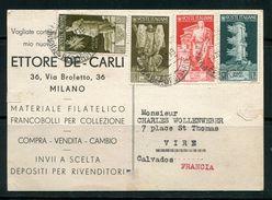 ITALIE- Carte Postale De 1937 De Milan Pour La France Avec Timbres Y&T N°396-397-398-400 - Marcophilia