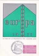 FDC / 1971 STRASBOURG / EUROPA / LA PAIX ET LA PROSPERITE PAR L'EUROPE UNIE / Timbre 0.80 - FDC
