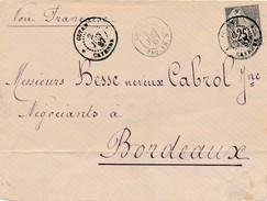 1887 Ligne C Env De Cayenne à Bordeaux Signée Calves TB. - Postmark Collection (Covers)