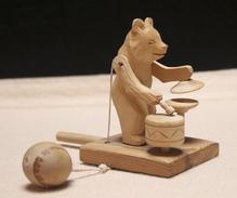 Art-antiquité_sculpture Bois_83_ours Jouet Mobile_Russie - Wood