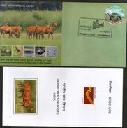 India 2012 Swamp Land Rhinoceros Turtle Deer Wildlife Animal Bird Sp Cover # 18394 - Rhinozerosse