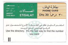 UNITED ARAB EMIRATES___old Tamura Magnetic Phonecard Etisalat___UAE-19 - Emirats Arabes Unis