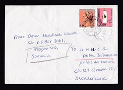 Somalia: Cover To Switzerland, 1985, 2 Stamps, Dhaqanka, Old Man, Lady, Different Country Names (minor Creases) - Somalië (1960-...)