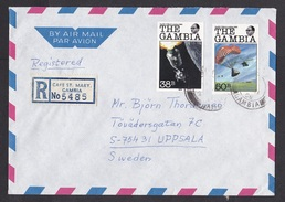 Gambia: Registered Cover To Sweden, 2 Imperforated Stamps, Apollo Moon Landing, Space, Rare Real Use (traces Of Use) - Gambia (1965-...)