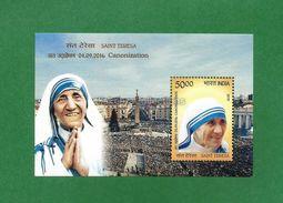 INDIA 2016 INDE INDIEN - MOTHER TERESA Canonization To SAINT MNH ** Miniature Sheet - As Scan - Mother Teresa