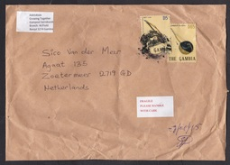 Gambia: Cover To Netherlands, 2015, 2 Stamps, Music Instrument (damaged: Serious Creases) - Gambia (1965-...)