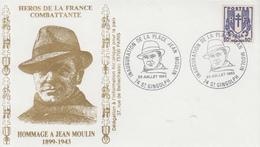 Enveloppe   Hommage  à   JEAN   MOULIN    SAINT  GINGOLPH   1983 - 2. Weltkrieg