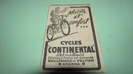PETITE PUBLICITE - VELOS - CYCLISME - CYCLES CONTINENTAL PLAISIR Et CONFORT - OUEST ECLAIR MAI 1939. - Reclame