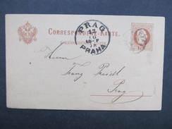 GANZSACHE Korrespondenzkarte Patzau Pacov - Prag 1878 /// D*28130 - 1850-1918 Imperium