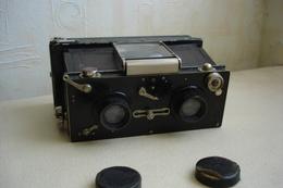 Rare Appareil Photo Ancien Stereoscopique GALLUS  à Plaques Stéreo Vers 1918 Fonctionne - Macchine Fotografiche