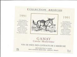 Etiquette De VIN De L'ARDECHE - Cuvée Spéciale Ane MODESTINE De STEVENSON - 1991 - Donkeys