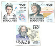 Togo Marie Curie Gerty Cori Mendeleev Nobel Prize Chemistry 3v Set Mchel:4293-95 - Famous People