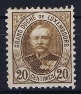 Luxembourg :  Mi 59 A   MH/* Flz/ Charniere  Dunkelbraun Braun In Stead Of Orange - 1891 Adolphe Frontansicht