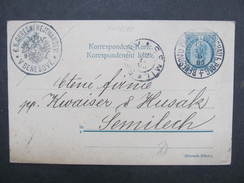 GANZSACHE Benesov U Prahy - Semily 1905  Korrespondenzkarte /// D*28155 - Briefe U. Dokumente