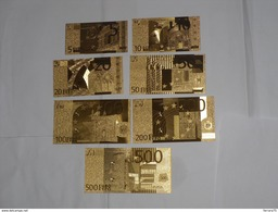 LOTTO SET DI N.7 BANCONOTE BANKNOTE GOLD EURO IN FOGLIA D'ORO 24 K FDS. - Banconote