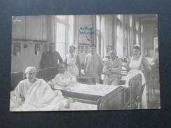 AK Echtfoto 1913 Krankenhaus / Krankenschwestern. Militär / Lazarett. Männer Im Krankenbett - Health
