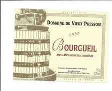Etiquette De VIN De BOURGUEIL - Domaine Du Vieux Pressoir 1999 - Rode Wijn