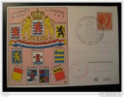1946 Lion Arm Cancel + Stamp On Card Luxembourg - Tarjetas Conmemorativas