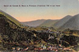 """06945 """"(TN)  SALUTI DA CANALE S. BOVO IN PRIMIERO M. 758 SUL MARE"""" PANORAMA. CART  NON SPED - Trento"""