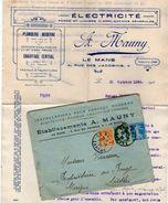 VP11.379 - Enveloppe & Lettre - Electricité A. MAUNY à LE MANS + Devis Pour Le Compte De Mr CARREAU à MARIGNE ( Sarthe ) - Electricity & Gas