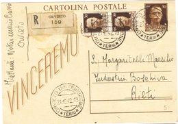 R694) V.E.III CARTOLINA POSTALE 30 CENT. 1942 SPEDITA PER RACCOMANDATA - Interi Postali