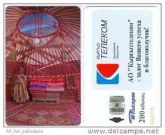 KYRGYZSTAN Kirghizistan Kirgisistan: Chip Phone Card Carte Karte *NOMAD TENT JURTA*, 200units - Kyrgyzstan